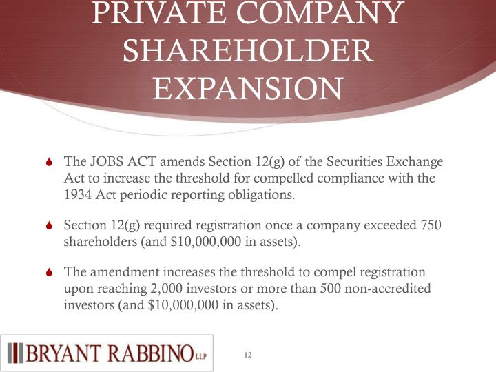 PRIVATE COMPANY SHAREHOLDER EXPANSION
