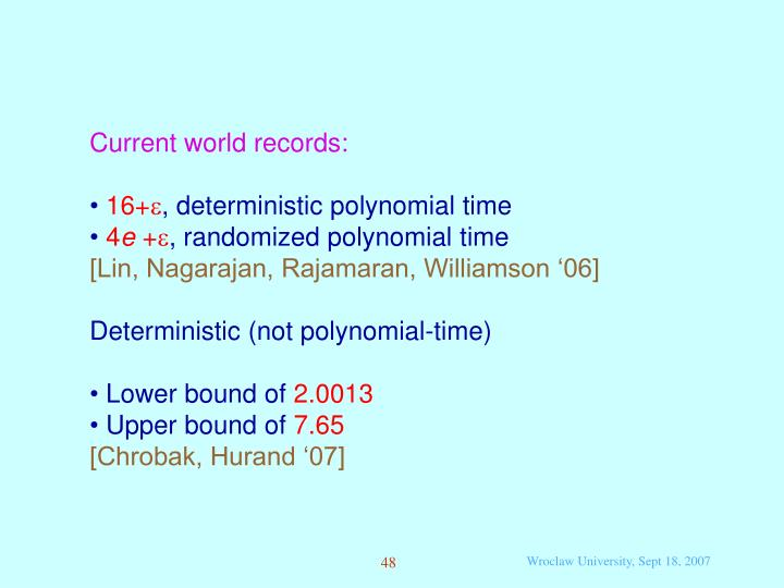 Current world records: