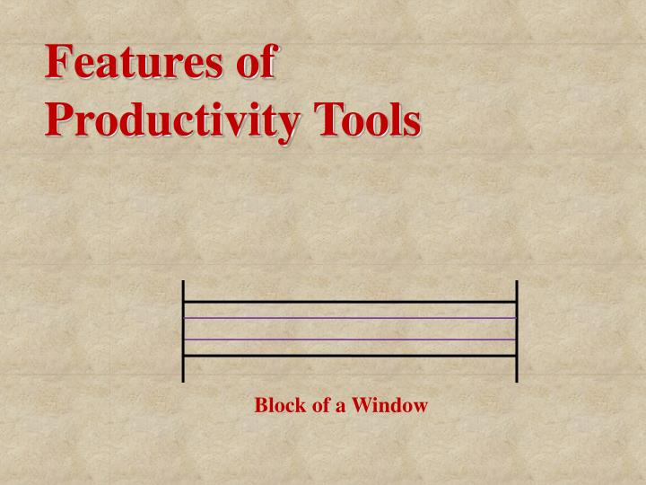 Features of Productivity