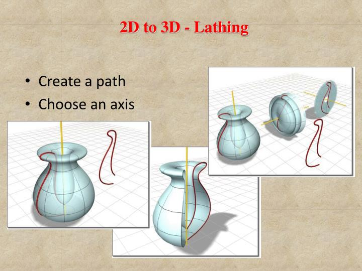 2D to 3D - Lathing
