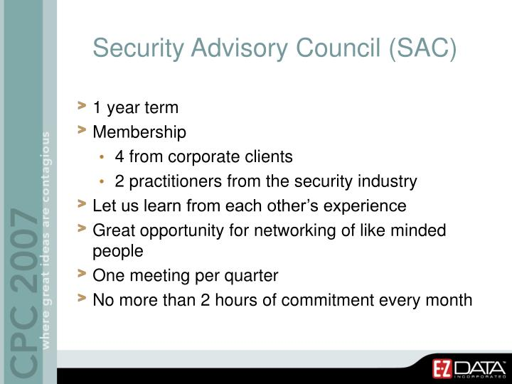 Security Advisory Council (SAC)