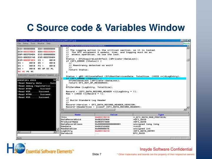 C Source code & Variables Window