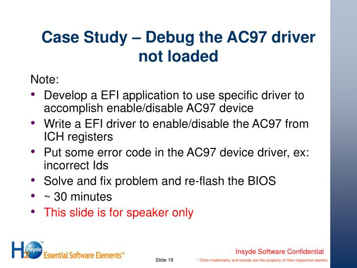Case Study – Debug the AC97 driver not loaded