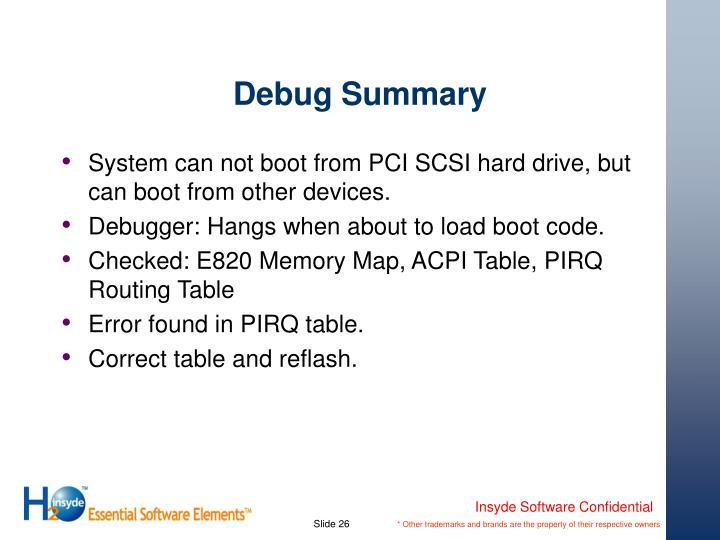 Debug Summary