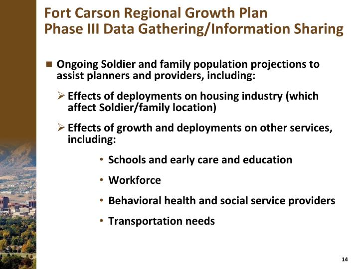 Ongoing Soldier and family population projections to assist planners and providers, including: