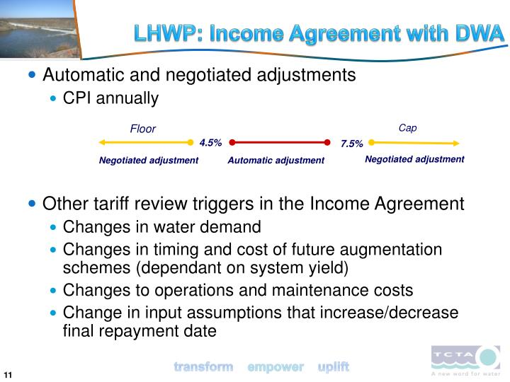 LHWP: Income Agreement with