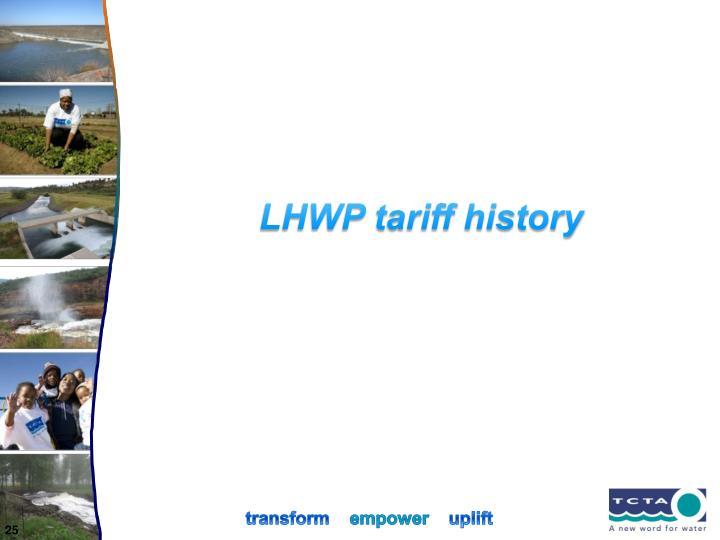LHWP tariff history