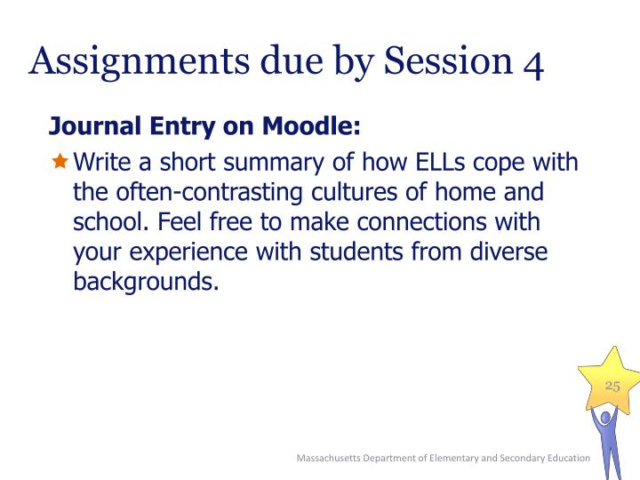 Assignments due by Session 4