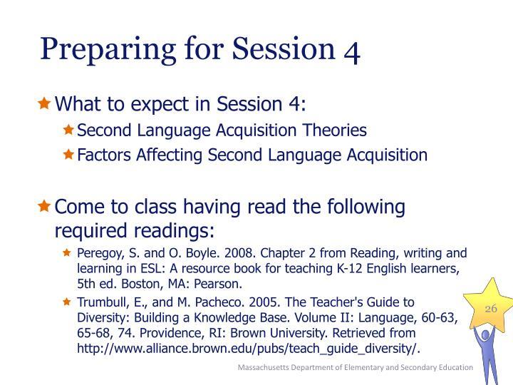 Preparing for Session 4