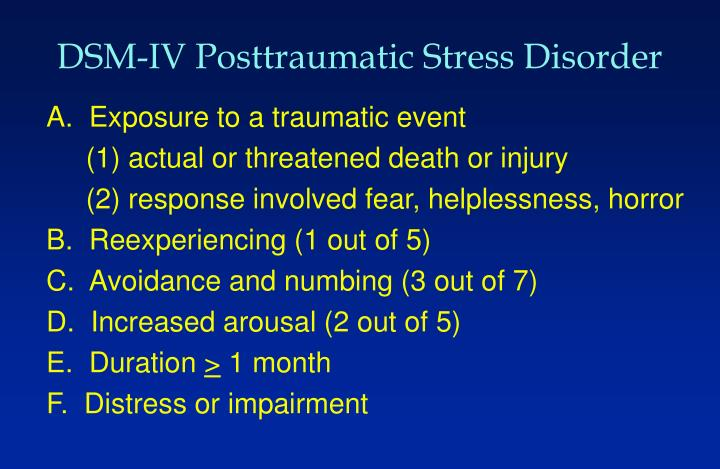 DSM-IV Posttraumatic Stress Disorder