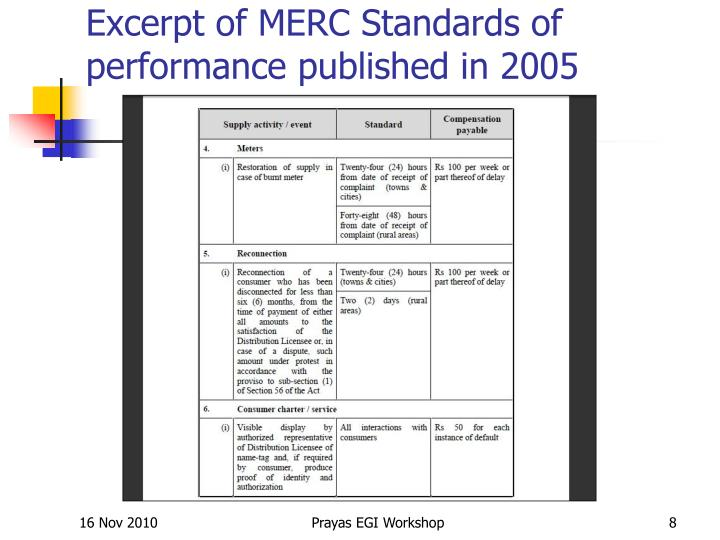 Excerpt of MERC Standards of performance published in 2005