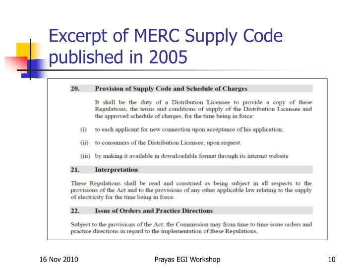 Excerpt of MERC Supply Code published in 2005
