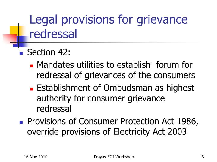 Legal provisions for grievance redressal