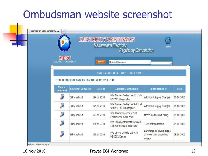 Ombudsman website screenshot