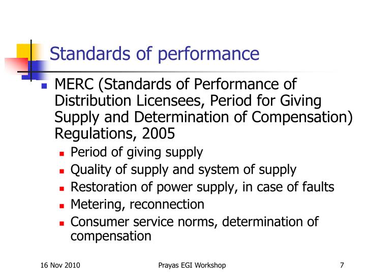 Standards of performance
