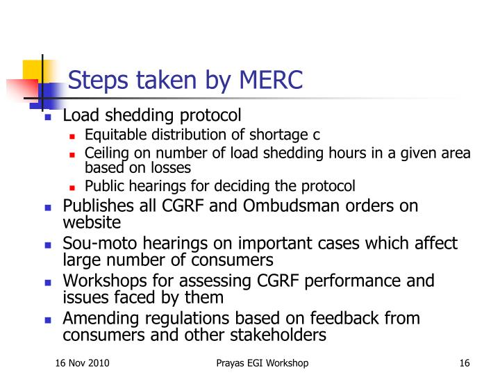 Steps taken by MERC