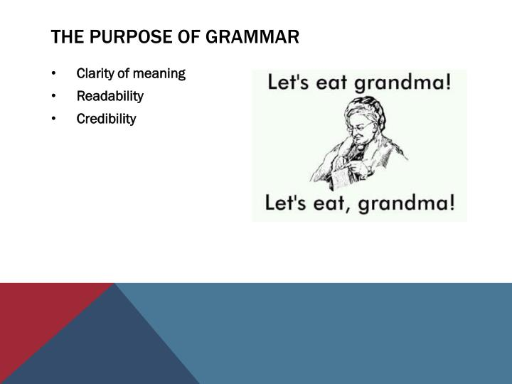 The Purpose of Grammar