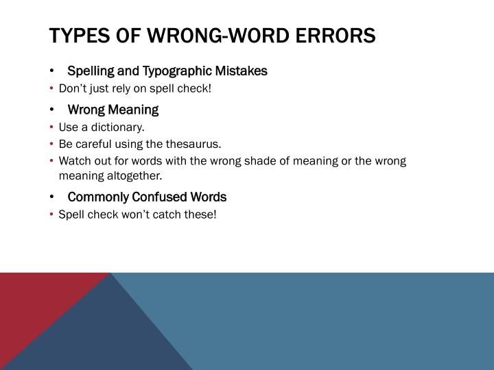 Types of Wrong-Word errors