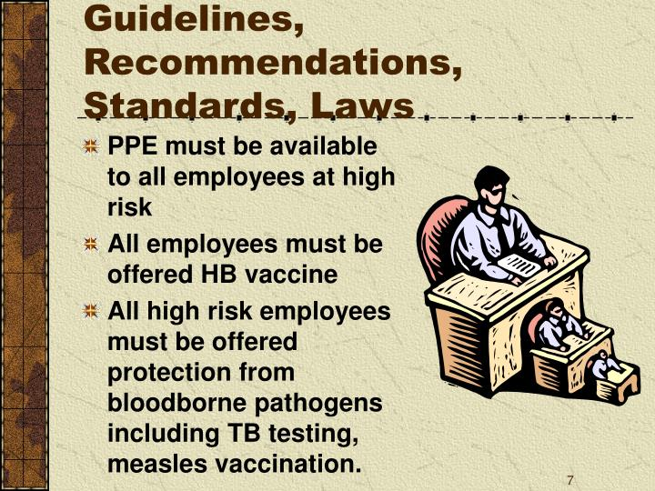 Guidelines, Recommendations, Standards, Laws