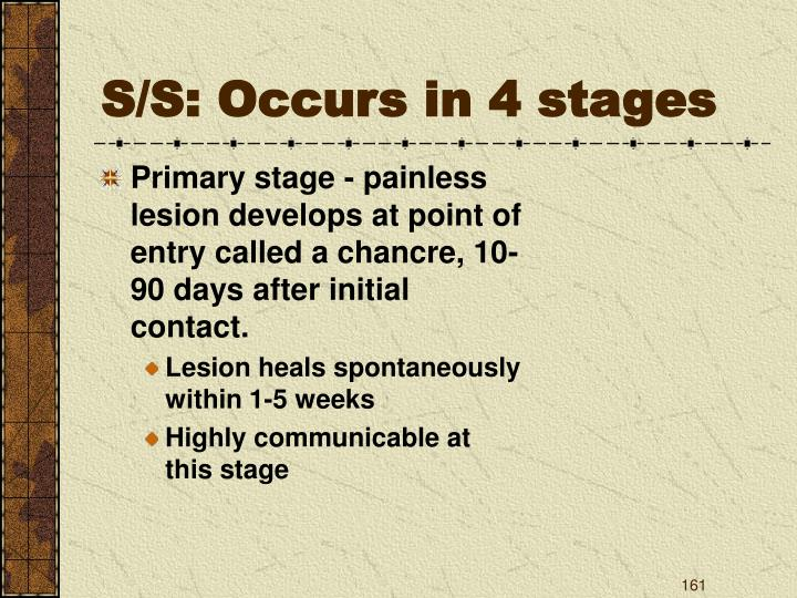 S/S: Occurs in 4 stages