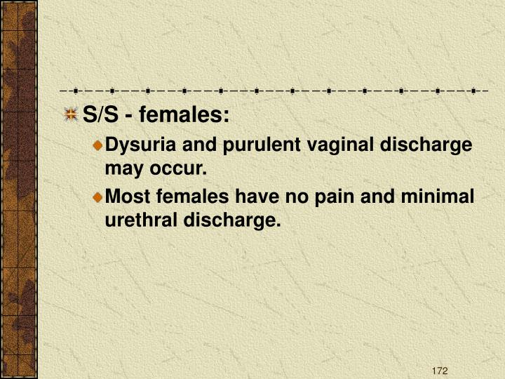 S/S - females: