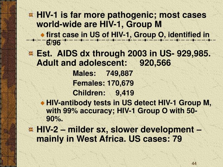 HIV-1 is far more pathogenic; most cases world-wide are HIV-1, Group M