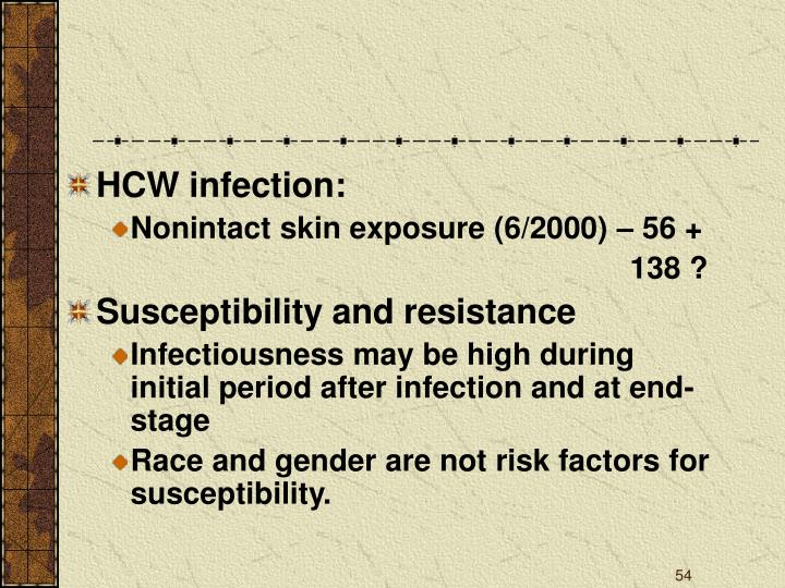 HCW infection: