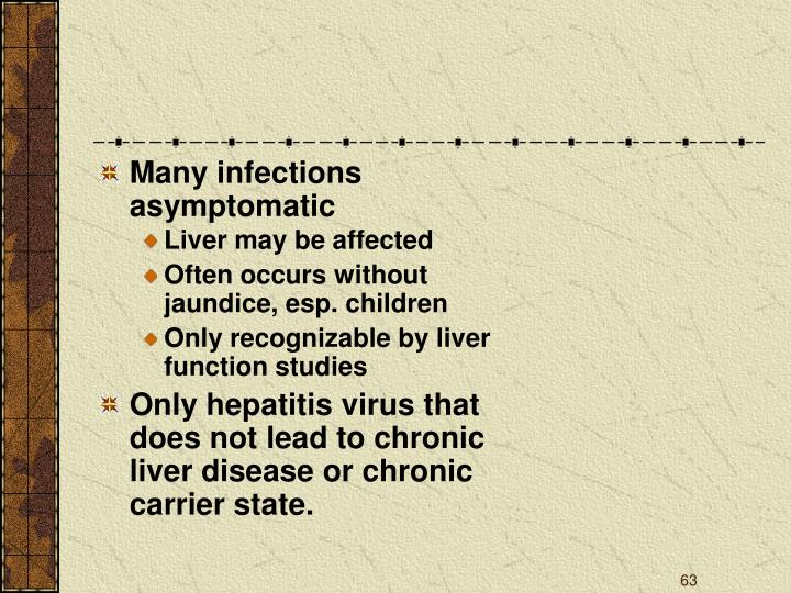 Many infections asymptomatic