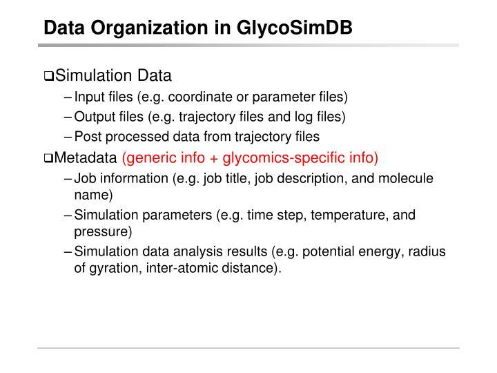 Data Organization in GlycoSimDB