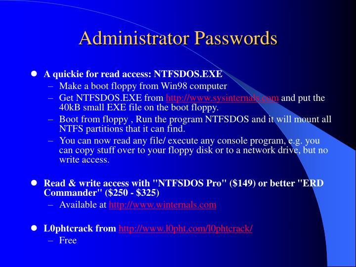 Administrator Passwords