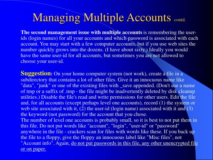 Managing Multiple Accounts