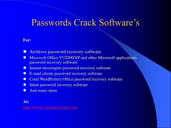 Passwords Crack Software's