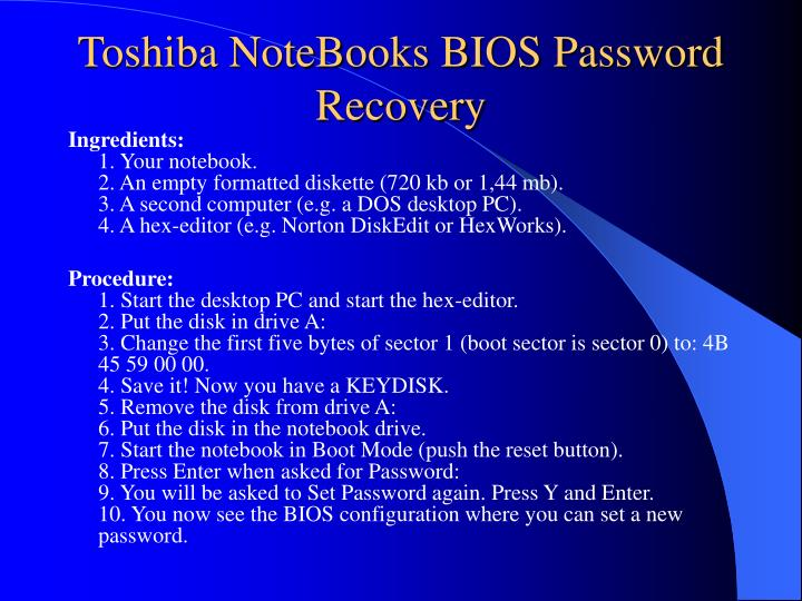 Toshiba NoteBooks BIOS Password Recovery