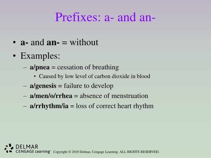 Prefixes: a- and an-