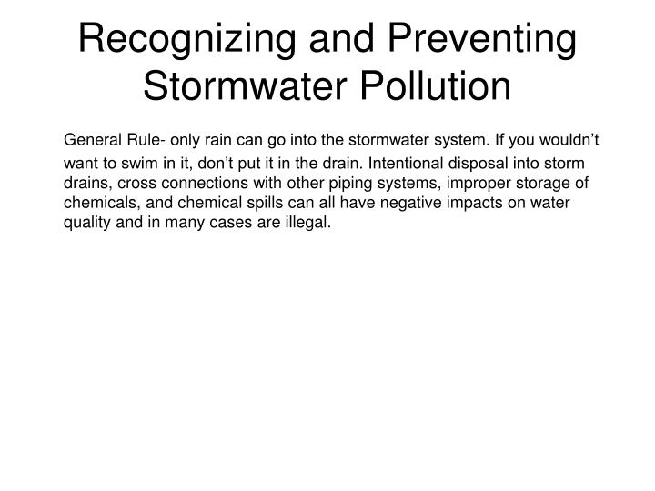 Recognizing and Preventing Stormwater Pollution