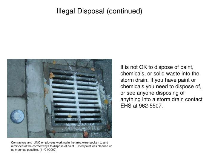 Illegal Disposal (continued)