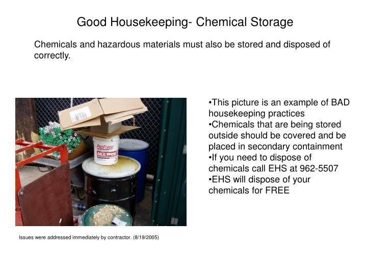 Good Housekeeping- Chemical Storage