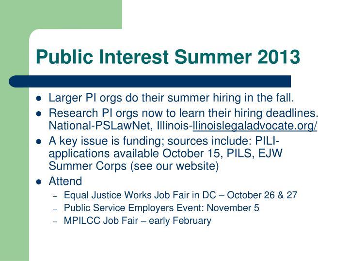 Public Interest Summer 2013