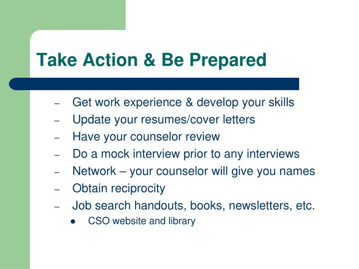Take Action & Be Prepared