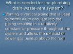 what is needed for the plumbing drain waste vent system12