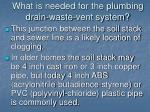 what is needed for the plumbing drain waste vent system7