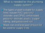 what is needed for the plumbing supply system10