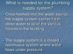 what is needed for the plumbing supply system2