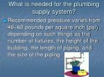 what is needed for the plumbing supply system3