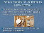 what is needed for the plumbing supply system6