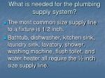 what is needed for the plumbing supply system8