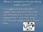 what is needed for the plumbing supply system9