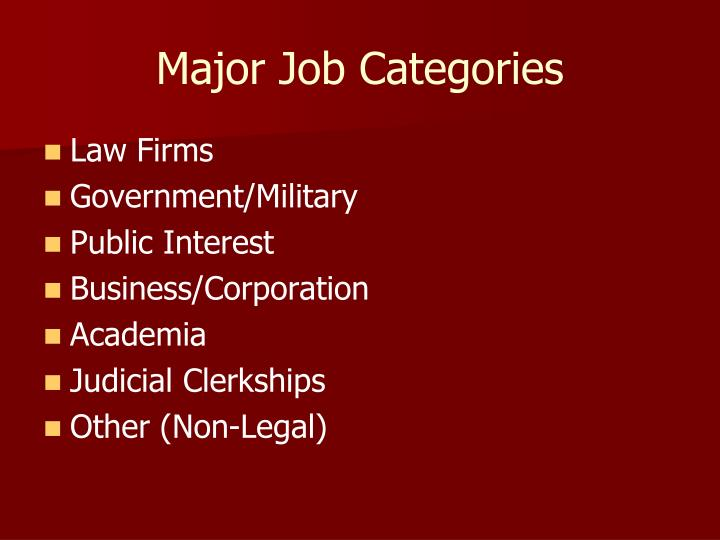 Major Job Categories