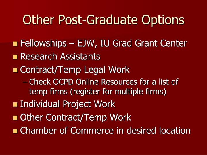 Other Post-Graduate Options