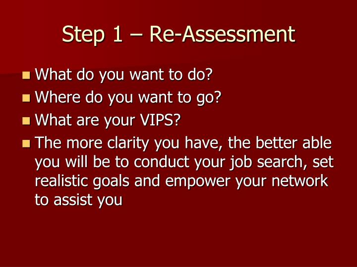 Step 1 – Re-Assessment